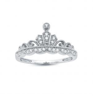 10k White Gold Tiara Style Ring