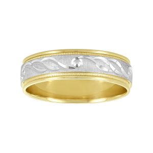 Two-Tone Engraved Design 14k Gold Men's Wedding Bands - Wedding Bands for Men