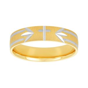 Men's 14K Two Tone Gold Cross Design Wedding Band