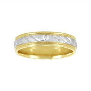 Women's Engraved Two Tone 14k Gold Anniversary Band