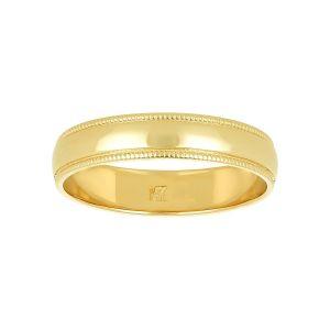 14k Yellow Gold Milgrain Edge Wedding Band