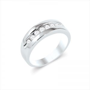 Mens 14k White Gold Wedding Band 1/2 Ct. T.W High Polish with Channel Setting