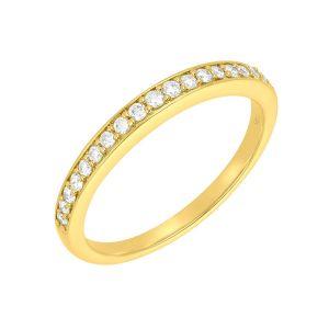 14k White Gold Contour Diamond Wedding Band