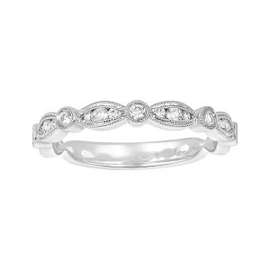 14k White Gold Alternating Bezel Diamond Wedding Band