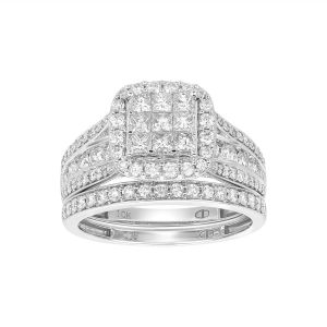 14K White Gold 9 Diamond Center Water Under the Bridge Design Set