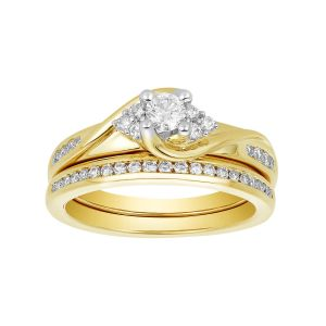 14K Two Tone Gold Round Diamond Swirl Set