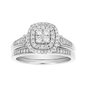 14K White Gold Cushion Double Halo Set