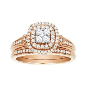 14K Rose Gold Cushion Double Halo Set