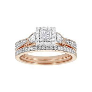 14K Rose Gold Quad Halo Set