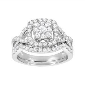 14K White Gold Cushion Cut with Halo and Twist Design Set