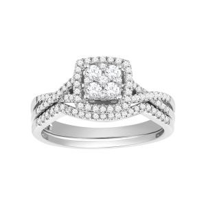 14K White Gold Cushion Shaped Halo with Twist Design Set