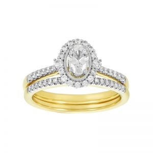 14k Yellow Gold Oval Halo Wedding Set