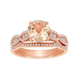 14K Rose Gold Round Morganite Wedding Set