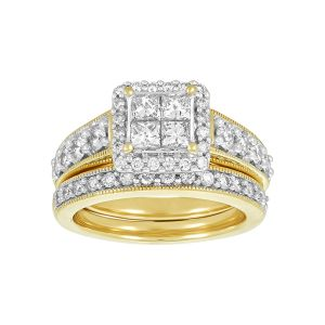 14k Yellow Gold Wide Band Princess Cut Halo Engagement Ring and Band
