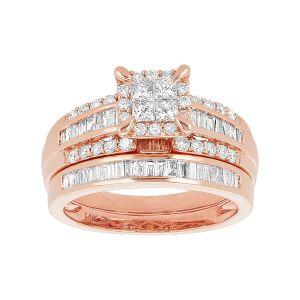 14k Rose Gold Quad Princess Cut and Baguette Wedding Set