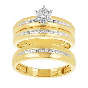 14k Yellow Gold Round Cut Channel Wedding Trio
