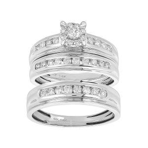 14k White Gold Round Cut Cluster Wedding Trio