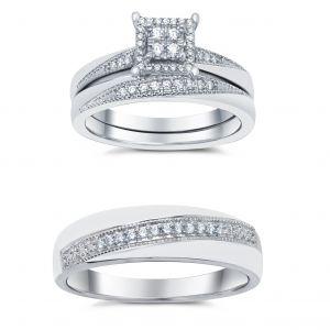 14k White Gold Princess Halo Wedding Trio