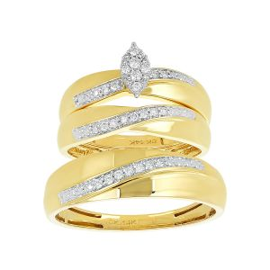 14k Yellow Gold Marquise Head Curved Wedding Trio
