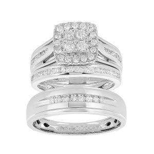 14k White Gold Princess Halo Cluster 1 CTW Wedding Trio