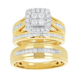 14k Yellow Gold Princess Halo Cluster 1 CTW Wedding Trio