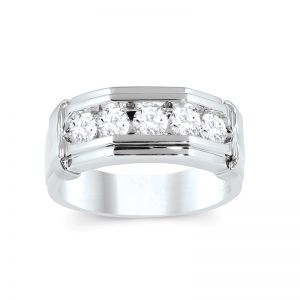 Mens 1 Ct. T.W. 14k White Gold Five Stone Ring