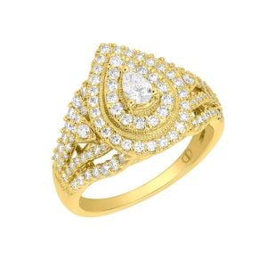 14k Rose Gold Pear Shaped Cluster Engagement Ring