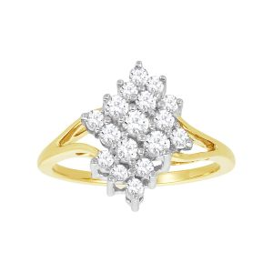 14k Gold Two-Tone Diamond Cluster Ring
