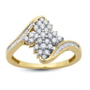 14k Yellow Gold 1/2 Ct. T.W Bypass Cluster Ring