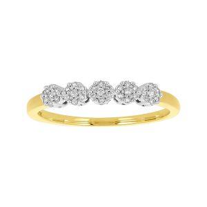 10k Yellow Gold Five Mini Flower Diamond Cluster Ring