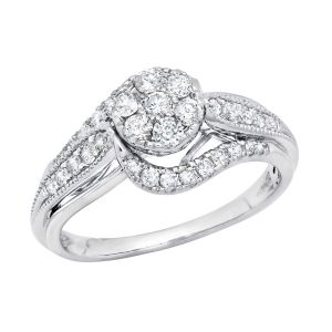 14k White Gold Floral Cluster Swirl Engagement Ring