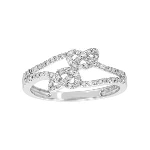14k White Gold Double Knot Diamond Ring