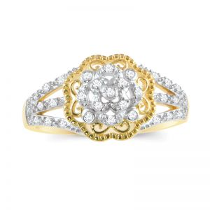 14k Gold Two-Tone Filigree Flower Diamond Ring