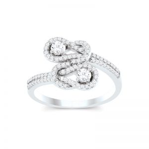 14k White Gold 1/2 Ct. T.W. Love Knot Ring