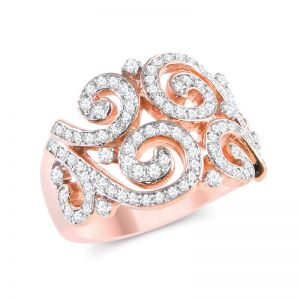 14k Rose Gold Diamond Swirls Wide Band Ring