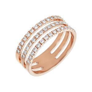 14k Rose Gold Three Band Diamond Ring