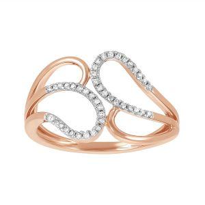 14k Rose Gold Fashion Diamond Bypass Loop Ring