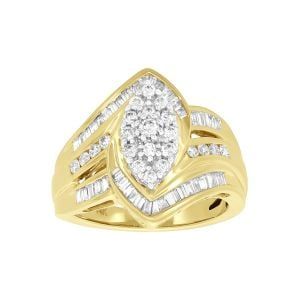 14k Yellow Gold 1 Ct. T.W. Marquise Cluster Ring