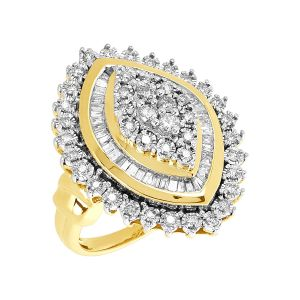 14k Yellow Gold 1 CTW Marquise Cluster Ring