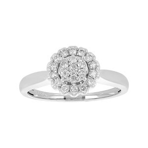 14k White Gold Cluster Flower Solitaire