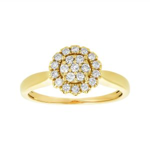 14k Yellow Gold Cluster Flower Solitaire