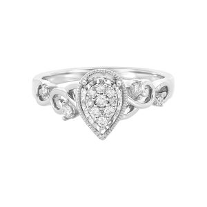 14k White Gold Pear Shaped Cluster Engagement Ring