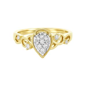 14k Yellow Gold Pear Shaped Cluster Engagement Ring