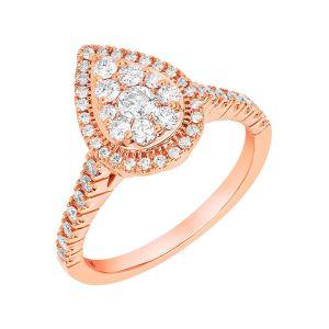 14k White Gold Round Halo Alternating Band Engagement Ring