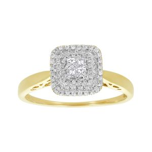 14k Two-Tone Micro Pavé Cushion Shaped Engagement Ring