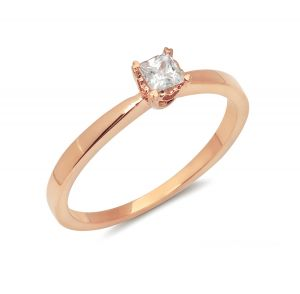 14k Rose Gold Princess Cut 1/6 Ct. Solitaire Engagement Ring with Heart Setting
