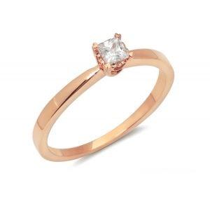 14k Rose Gold Princess Cut Solitaire Engagement Ring