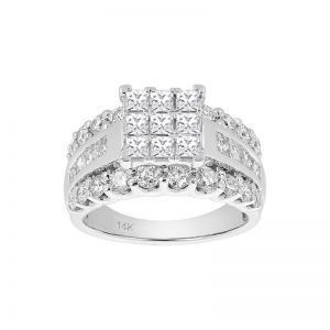 14k White Gold Princess Shaped Wide Band Engagement