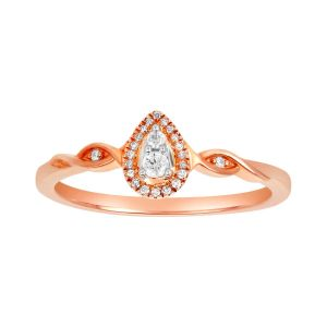 10K Rose Gold Pear Shaped Twisted Band Promise Ring