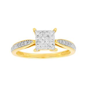 10K Two Tone Gold Princess Head Cluster Promise Ring